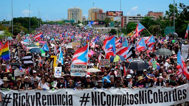PHOTO: Thousands of Puerto Ricans gather for what many are expecting to be one of the biggest protests ever seen in the U.S. territory, San Juan, Puerto Rico, July 22, 2019. (Carlos Giusti/AP)