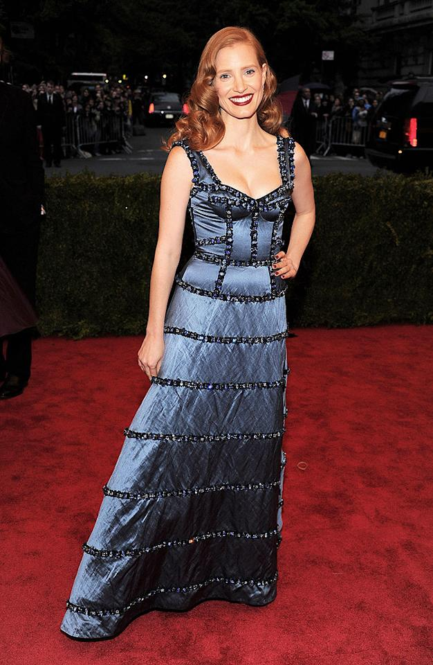 "<p class=""MsoNoSpacing"">Jessica Chastain was a vision in her blue Louis Vuitton gown embellished with hand-embroidered crystals and pearls, which took over 200 hours to complete! </p><p class=""MsoNoSpacing""></p>"