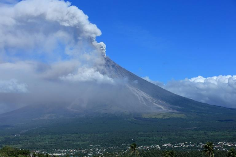Ash spews from Mayon, the most active volcano in the Philippines
