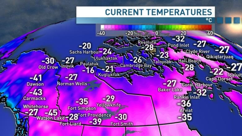 Watson Lake, Yukon, at -45 C, is the coldest place in Canada