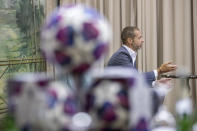 """UEFA President Aleksander Ceferin speaks during an interview with The Associated Press in Lisbon, Portugal, Sunday, Aug. 23, 2020. Ceferin stressed he would consult widely before pushing for any permanent changes to the format, but said many people were """"extremely excited"""" by the final eight format adopted because of the coronavirus pandemic. (AP Photo/Manu Fernandez)"""