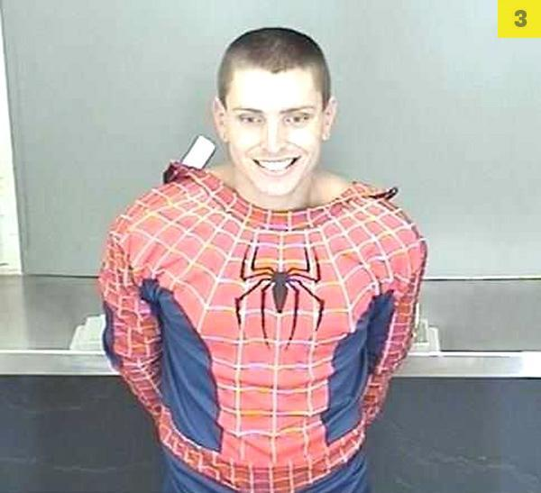 "Daniel James Bradley, 22, was nabbed by California cops after allegedly trying to steal a woman's purse. Post-arrest, Bradley explained to police that his Spiderman costume was part of his ""disguise."" The Smoking Gun photo"
