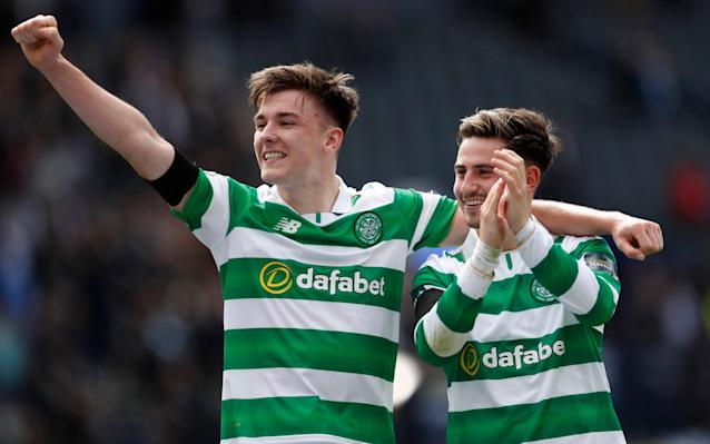 <span>Kieran Tierney and Patrick Roberts celebrate after last week's Celtic victory</span> <span>Credit: Action Image/Lee Smith  </span>