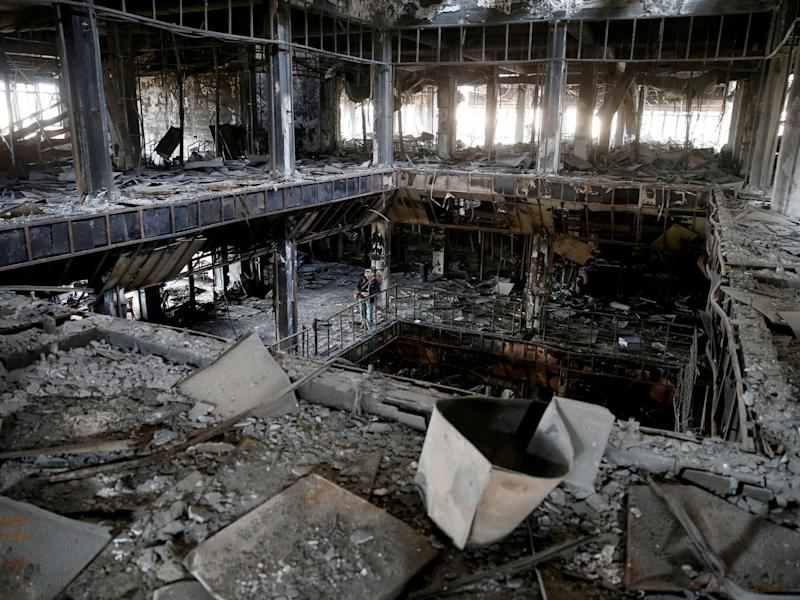 General view of the library of the University of Mosul, burned and destroyed during the battle with Islamic State militants, in Iraq (Reuters)