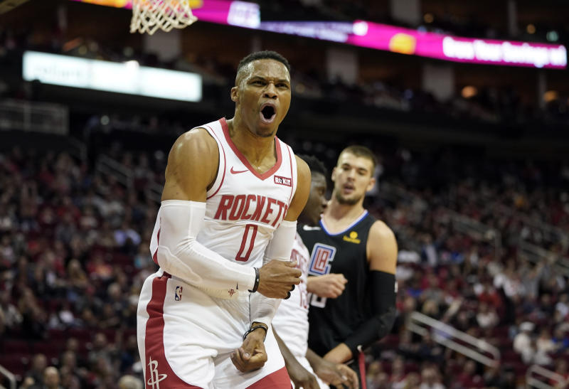 Houston Rockets' Russell Westbrook (0) yells toward an official during the second half of an NBA basketball game against the LA Clippers Wednesday, Nov. 13, 2019, in Houston. The Rockets won 102-93. (AP Photo/David J. Phillip)