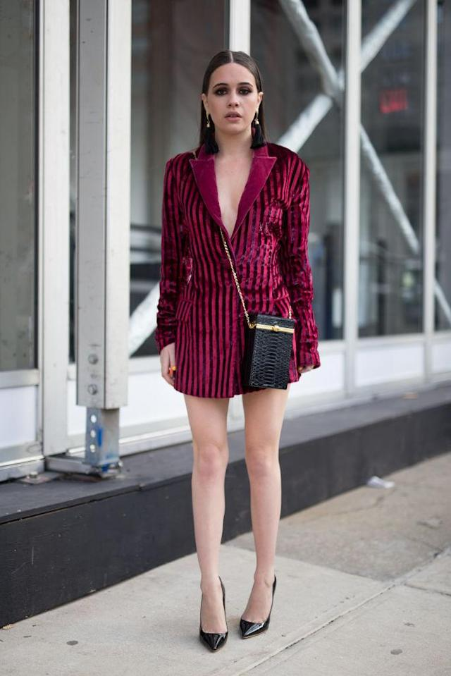 <p>The singer may have discovered that wearing a jacket doesn't do too much without anything underneath. (Photo: Getty Images) </p>