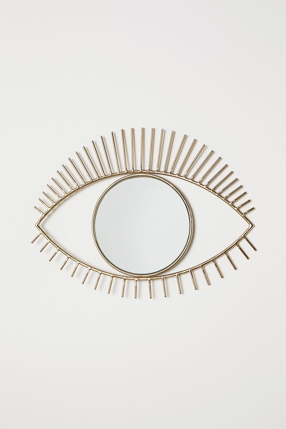 "<br> <br> <strong>H&M Home</strong> Eye-shaped Mirror, $, available at <a href=""https://go.skimresources.com/?id=30283X879131&url=https%3A%2F%2Fwww2.hm.com%2Fen_us%2Fproductpage.0568234001.html"" rel=""nofollow noopener"" target=""_blank"" data-ylk=""slk:H&M"" class=""link rapid-noclick-resp"">H&M</a>"