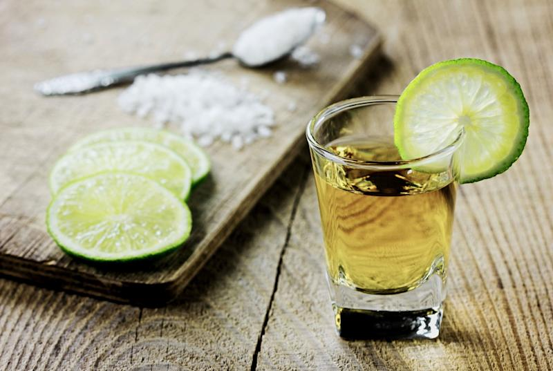 """<a href=""""http://www.myfitnesspal.com/food/calories/alcohol-jose-cuervo-gold-tequila-167657344"""" target=""""_blank"""">Salt and lime not included.</a>"""