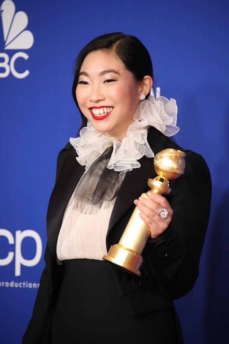 """After breakout comedic roles in """"Crazy Rich Asians"""" and """"Ocean's 8,"""" Awkwafina won an acting Golden Globe for Lulu Wang's family drama """"The Farewell"""" earlier this month."""