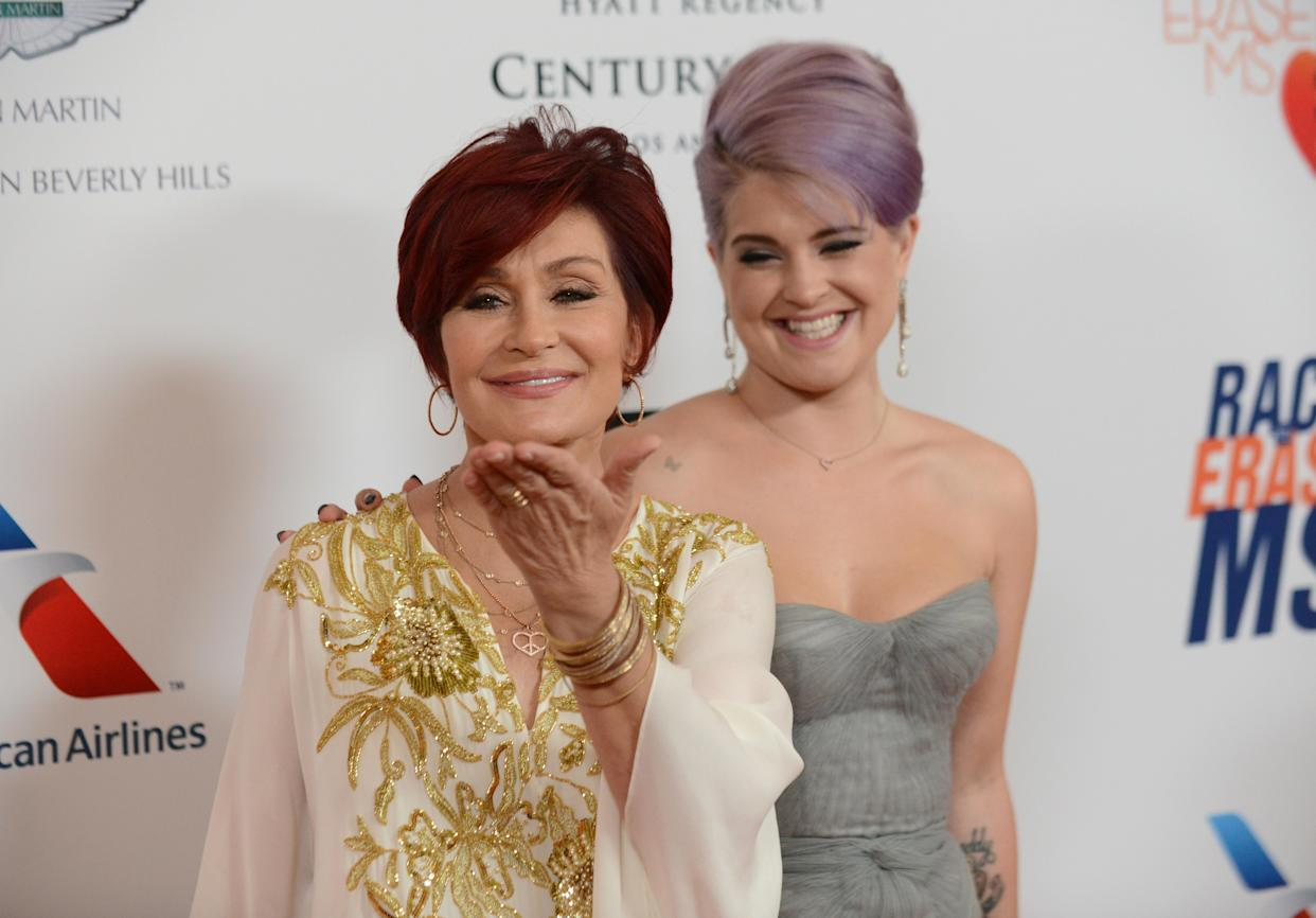 Kelly Osbourne, right, and Sharon Osbourne arrive at the 20th annual Race to Erase MS event