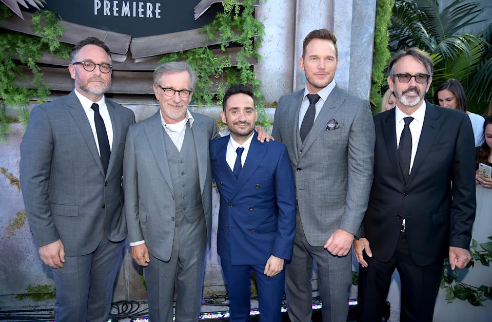 "LOS ANGELES, CA - JUNE 12:  (L-R) Executive producer Colin Trevorrow, executive producer Steven Spielberg, director J.A. Bayona, actor Chris Pratt and producer Patrick Crowley arrive at the premiere of Universal Pictures and Amblin Entertainment's ""Jurassic World: Fallen Kingdom"" at the Walt Disney Concert Hall on June 12, 2018 in Los Angeles, California.  (Photo by Kevin Winter/Getty Images)"