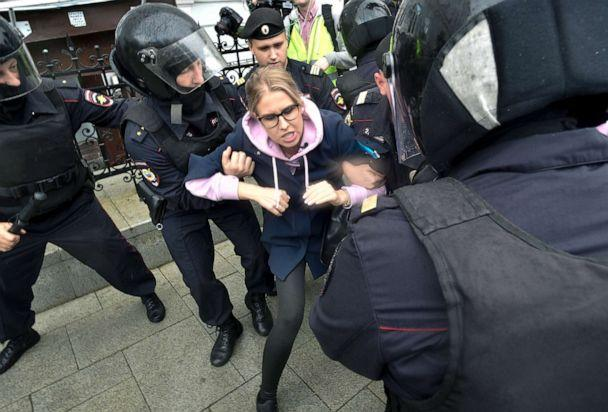 PHOTO: Police officers detain an opposition candidate Lyubov Sobol during a demonstration in Moscow, Aug. 3, 2019. (Dmitry Serebryakov/AP)
