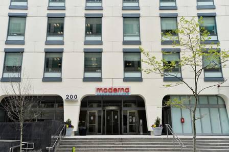 88821513_FILES In this file photo the Moderna headquarters is seen in Cambridge Massachusetts on May.jpg
