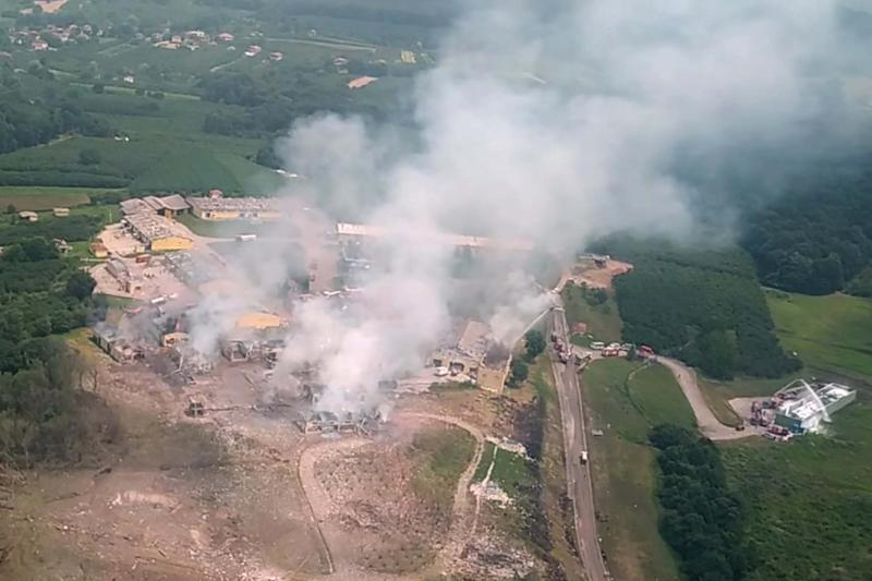 An aerial view of the firework factory from the helicopter of Turkish Interior Minister Suleyman Soylu (via REUTERS)