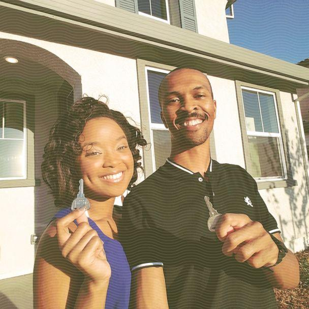 DJ and Dannie Vann hold the keys to their newly purchased home, which they bought in 2017. (ABC Photo Illustration / Courtesy DJ and Dannie Vann)
