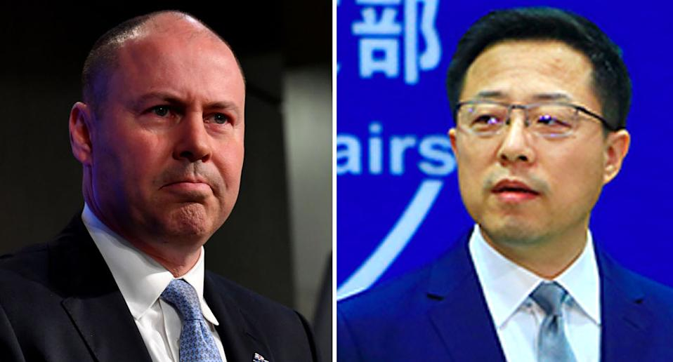 FM spokesperson Zhao Lijian (right) hit out at Canberra after a Chinese company withdrew its bid for an Australian company over fears Treasurer Josh Frydenberg (left) would block it. Source: Getty/ FMPRC