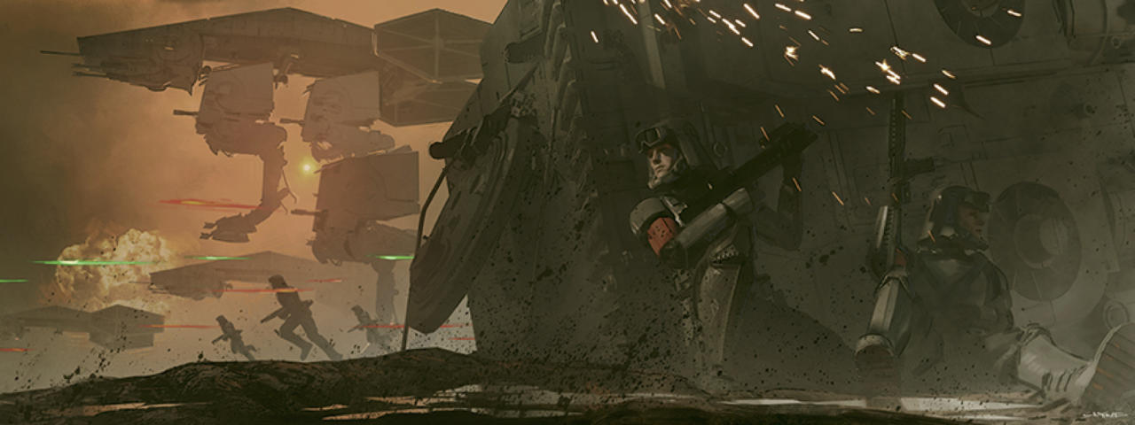 <p>Clyne's concept for an early battle scene featuring Imperial forces on the swamp planet of Mimban is recreated almost identically in the Ron Howard film. (Image courtesy of Abrams Books/Lucasfilm Ltd.) </p>