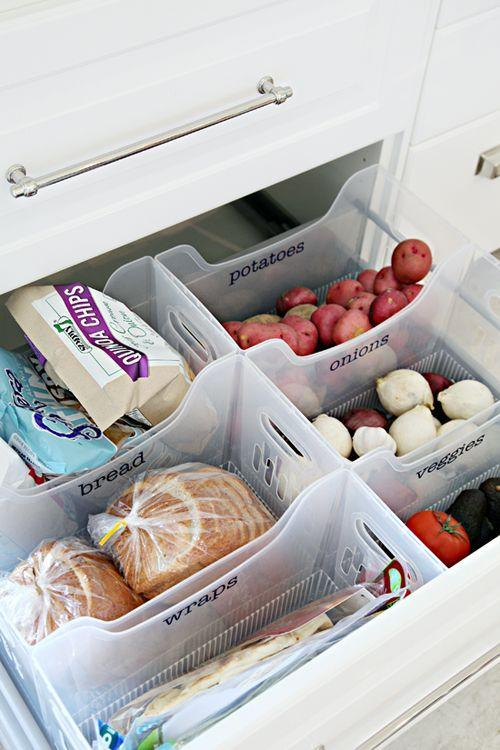 """<p>Turn a deep drawer into a convenient place to store root veggies, bread, and more by adding bins. The only question is: What will you do with the extra pantry space? </p><p><a href=""""http://www.iheartorganizing.com/2015/04/iheart-kitchen-reno-organized-pantry.html"""" rel=""""nofollow noopener"""" target=""""_blank"""" data-ylk=""""slk:See more at I Heart Organizing »"""" class=""""link rapid-noclick-resp""""><em>See more at I Heart Organizing »</em></a></p>"""