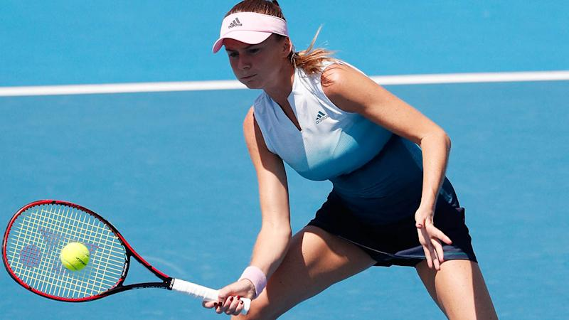 Daniela Hantuchova in the Women's Legends Doubles at the Australian Open. (Photo by Darrian Traynor/Getty Images)
