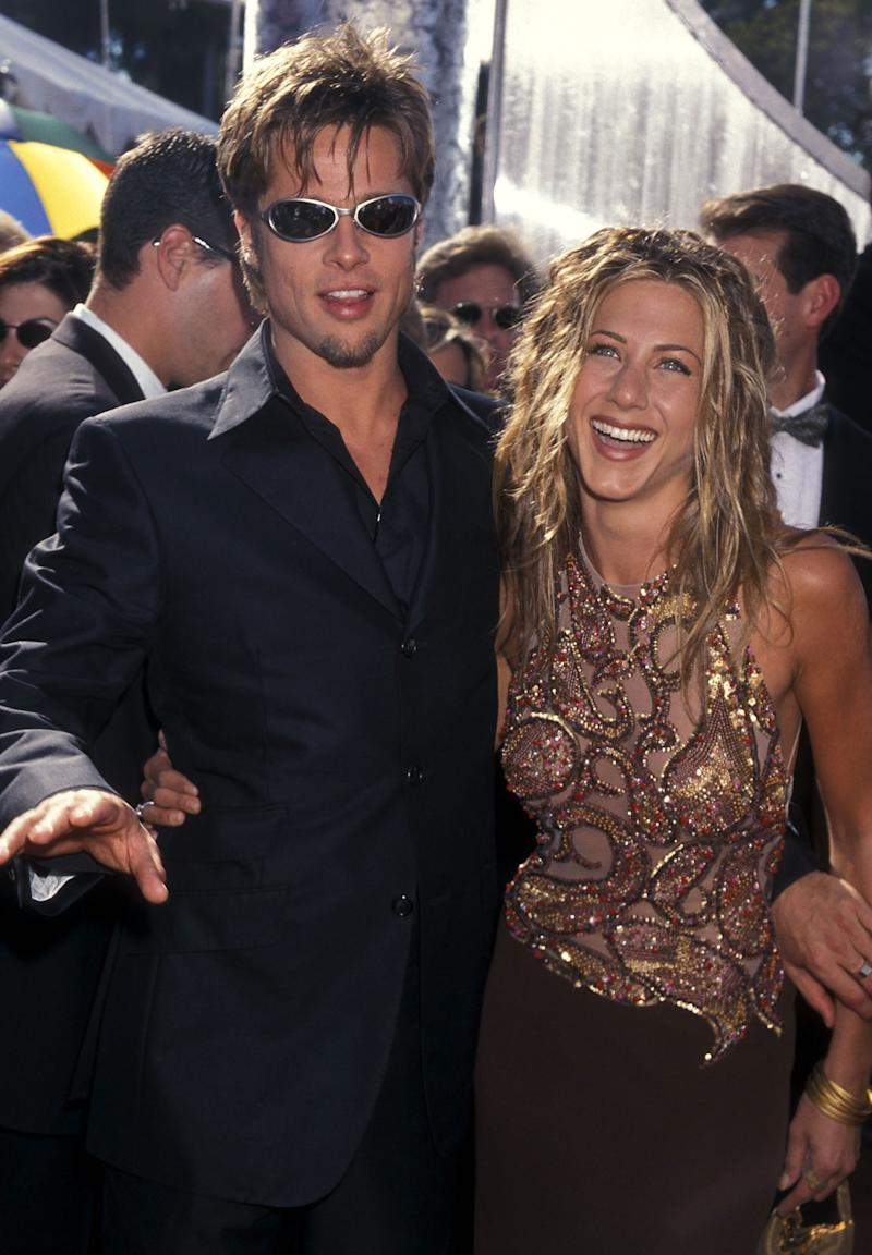 Actor Brad Pitt and actress Jennifer Aniston attend the 51st Annual Primetime Emmy Awards on September 12, 1999 at Shrine Auditorium in Los Angeles, California. (Photo by Ron Galella, Ltd./Ron Galella Collection via Getty Images)