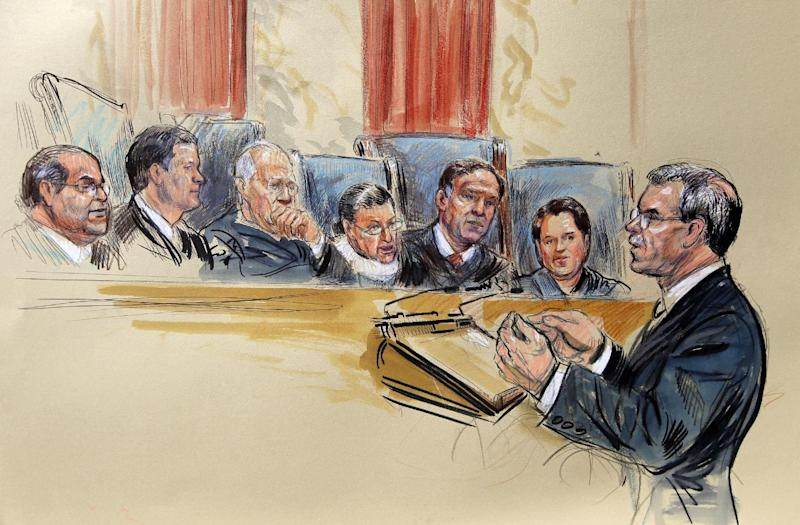 This artist rendering shows Solicitor General Donald B. Verrilli, Jr. speaking in front of the Supreme Court Justice in Washington, Monday, March 26, 2012, as the court began three days of arguments on the health care law signed by President Barack Obama. Justices seated, from left are, Antonin Scalia, Chief Justice John Roberts, Anthony Kennedy Ruth Bader Ginsburg, Samuel Alito and Elena Kagan. (AP Photo/Dana Verkouteren)