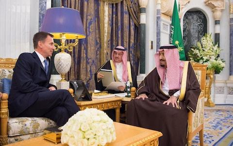 Saudi Arabia's King Salman bin Abdulaziz Al Saud meets with British Foreign Secretary Jeremy Hunt, in Riyadh - Credit: Reuters