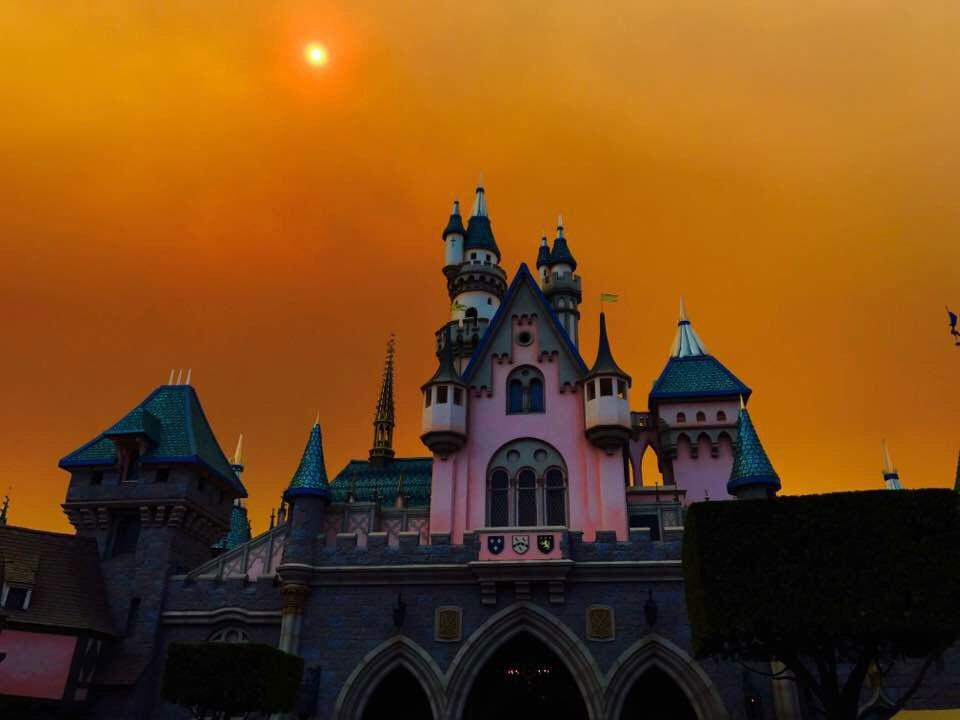 "<p>Disneyland is currently decked out for Halloween, but the resort has a distinctly spooky air for another reason. A fast-moving fire broke out Tuesday morning about 15 miles from the parks, according to the <em><a rel=""nofollow"">OC Register</a>. </em></p>"