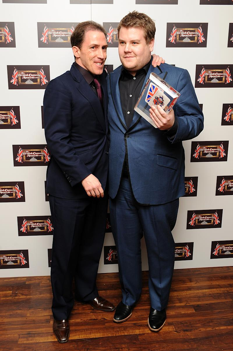 James Corden (r) and Rob Brydon with the award for Best TV Comedy, won by 'Gavin and Stacy', at the British Comedy Awards 2008, ITV London Television Studios, Upper Ground, South Bank, London