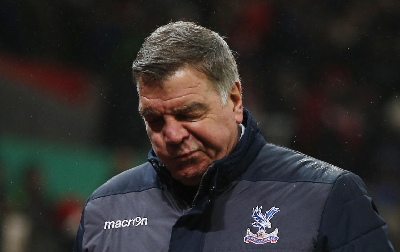 "Britain Soccer Football - Stoke City v Crystal Palace - Premier League - bet365 Stadium - 11/2/17 Crystal Palace manager Sam Allardyce looks dejected after the game  Action Images via Reuters / Andrew Couldridge Livepic EDITORIAL USE ONLY. No use with unauthorized audio, video, data, fixture lists, club/league logos or ""live"" services. Online in-match use limited to 45 images, no video emulation. No use in betting, games or single club/league/player publications.  Please contact your account representative for further details."