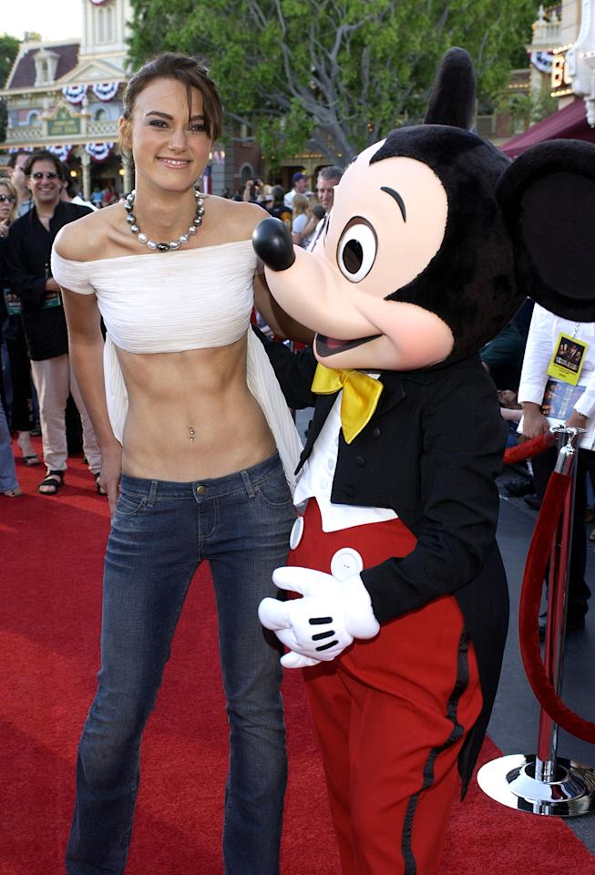 <p>Knightley, 18, arrived to the Disneyland premiere in a midriff-baring outfit. The young star won the role of Elizabeth Swan after her critically acclaimed appearance in <em>Bend It Like Beckham</em> the prior year. (Photo: Lester Cohen/WireImage) </p>