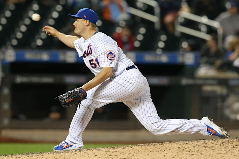 Sep 24, 2019; New York City, NY, USA; New York Mets relief pitcher Paul Sewald (51) pitches against the Miami Marlins during the eleventh inning at Citi Field. Mandatory Credit: Brad Penner-USA TODAY Sports