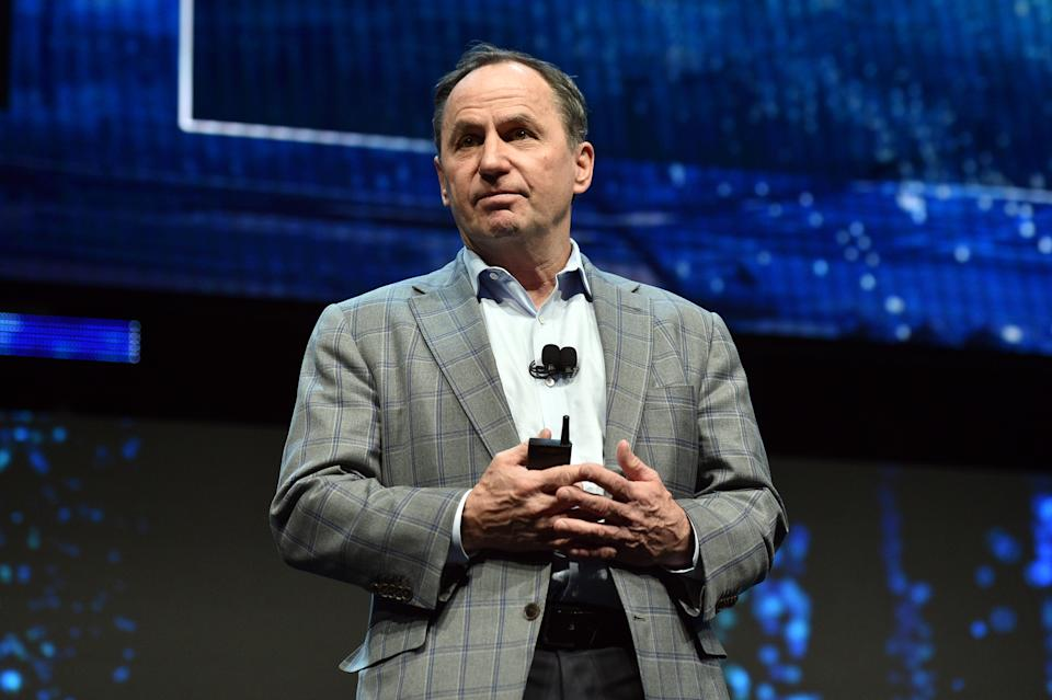 LAS VEGAS, NEVADA - JANUARY 06: Intel Chief Executive Officer Bob Swan during an Intel press event for CES 2020 at the Mandalay Bay Convention Center on January 6, 2020 in Las Vegas, Nevada. CES, the world's largest annual consumer technology trade show, runs January 7-10 and features about 4,500 exhibitors showing off their latest products and services to more than 170,000 attendees. (Photo by David Becker/Getty Images)