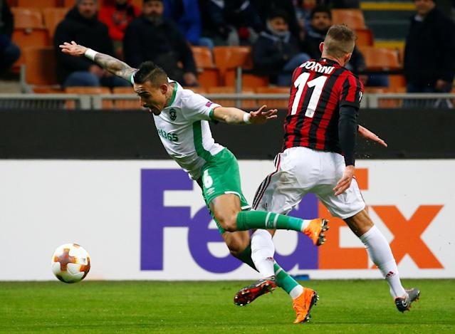 Soccer Football - Europa League Round of 32 Second Leg - AC Milan vs PFC Ludogorets Razgrad - San Siro, Milan, Italy - February 22, 2018 Ludogorets' Cicinho in action with AC Milan's Fabio Borini REUTERS/Tony Gentile