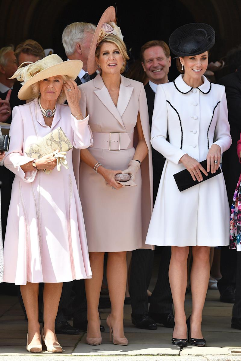 Camilla, Duchess of Cornwall, Queen Maxima of the Netherlands and Catherine, Duchess of Cambridge attend the Order of the Garter service