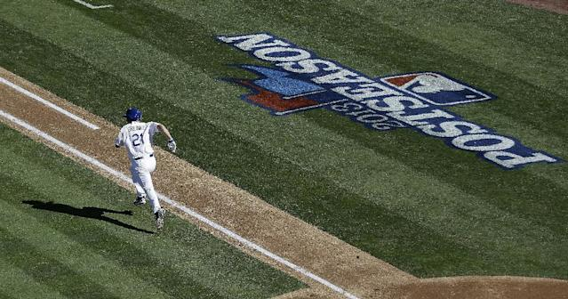 Los Angeles Dodgers' Zack Greinke runs to first after hitting an RBI single during the second inning of Game 5 of the National League baseball championship series against the Los Angeles Dodgers Wednesday, Oct. 16, 2013, in Los Angeles. (AP Photo/Jae C. Hong)