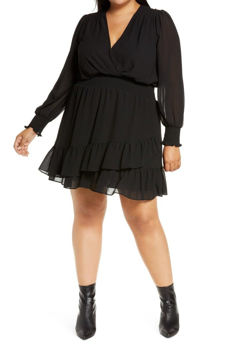 <p>There are so many ways to style this <span>MICHAEL Michael Kors Ruffle Long-Sleeve Faux Wrap Dress</span> ($150).</p>