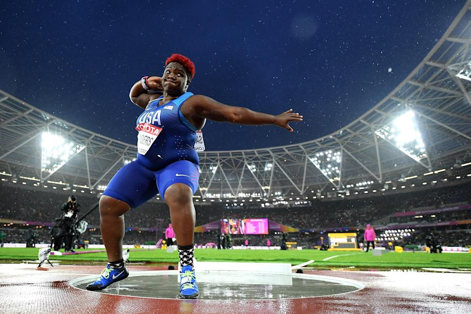 Raven Saunders of the United States competes in the Women's Shot Put final during day six of the 16th IAAF World Athletics Championships at The London Stadium on Aug. 9, 2017 in London. (Matthias Hangst / Getty Images file)