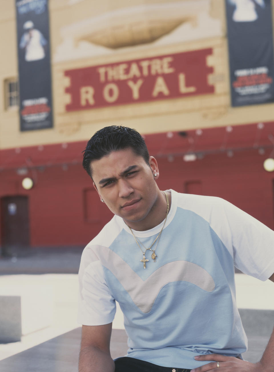British actor Ricky Norwood, who plays Fatboy in the soap opera 'Eastenders', outside the Theatre Royal Stratford East in London, circa 2010. (Photo by Tim Roney/Getty Images)