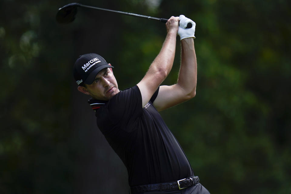 Patrick Cantlay tees off from the fifth hole during the third round of the BMW Championship golf tournament, Saturday, Aug. 28, 2021, at Caves Valley Golf Club in Owings Mills, Md. (AP Photo/Julio Cortez)