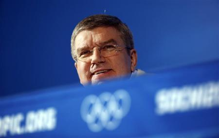 International Olympic Committee President Bach attends a news conference in Sochi