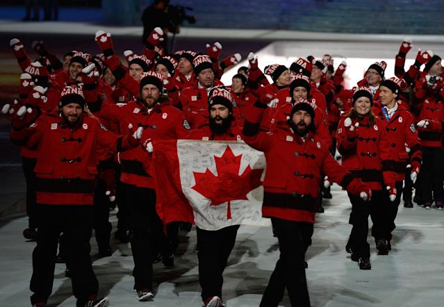 SOCHI, RUSSIA - FEBRUARY 07: The Canada Olympic team enters the Opening Ceremony of the Sochi 2014 Winter Olympics at Fisht Olympic Stadium on February 7, 2014 in Sochi, Russia. (Photo by Pascal Le Segretain/Getty Images)