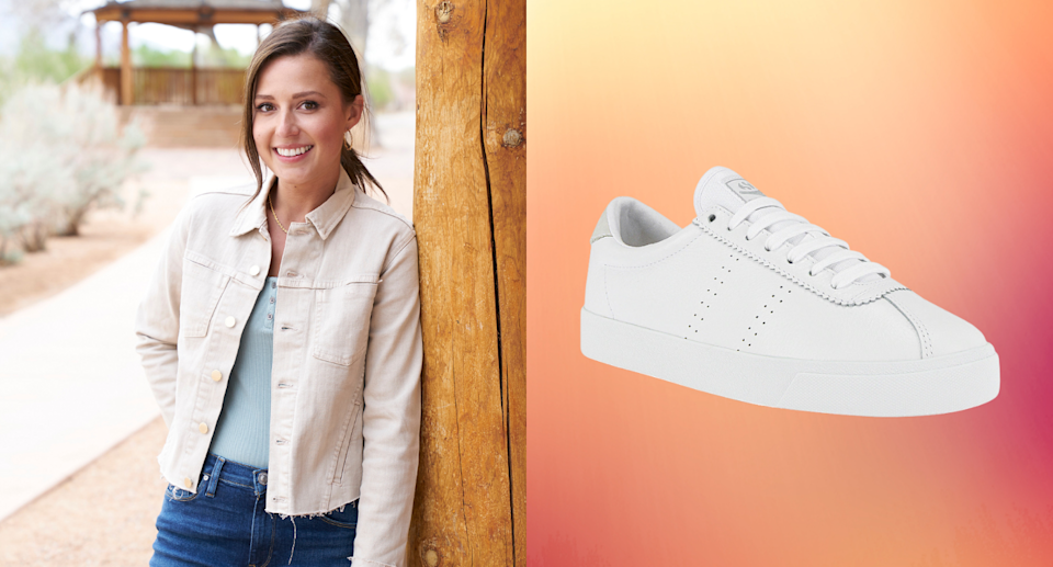 """""""The Bachelorette"""" star Katie Thurston was once again spotted wearing these $124 Superga sneakers (Photos via Getty Images & Revolve)"""