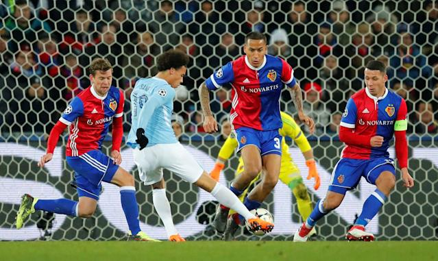 Soccer Football - Champions League - Basel vs Manchester City - St. Jakob-Park, Basel, Switzerland - February 13, 2018 Manchester City's Leroy Sane shoots at goal REUTERS/Denis Balibouse