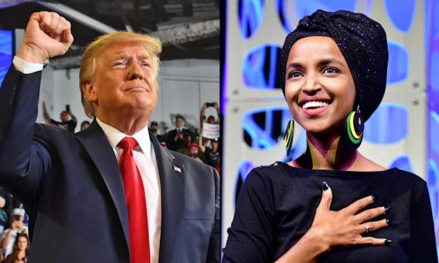 Supporters of President Donald Trump and Rep. Ilhan Omar are feuding on Twitter with competing hashtags. (Photos: Getty Images)
