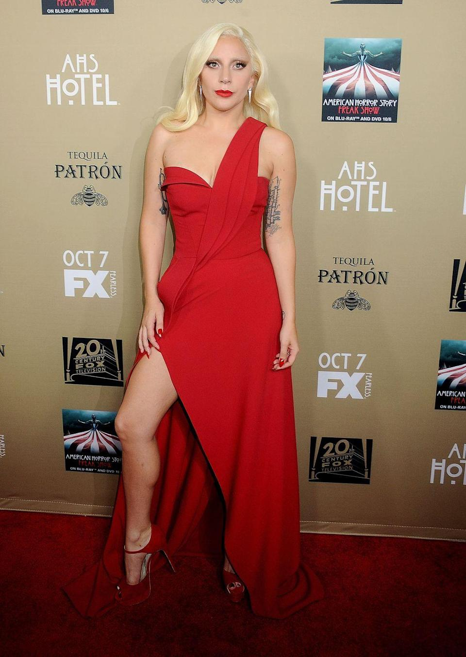 <p>Lady Gaga at the premiere screening of American Horror Story, October 2015.</p>