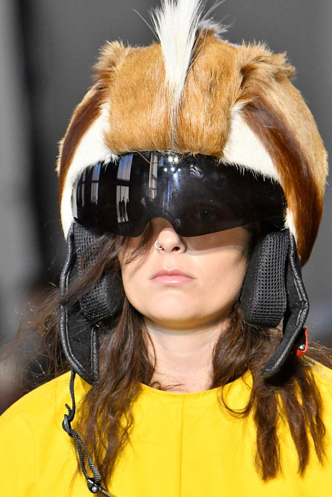 <p>A close up of the fur bike helmet spotted at the Marques' Almeida show in Paris. (Photo by Victor Virgile/Gamma-Rapho via Getty Images) </p>