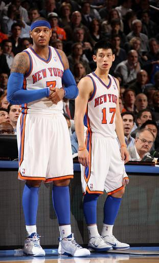 NEW YORK, NY - FEBRUARY 22: Jeremy Lin #17 and Carmelo Anthony #7 of the New York Knicks wait to enter the game against the Atlanta Hawks on February 22, 2012 at Madison Square Garden in New York City. (Photo by Nathaniel S. Butler/NBAE via Getty Images)