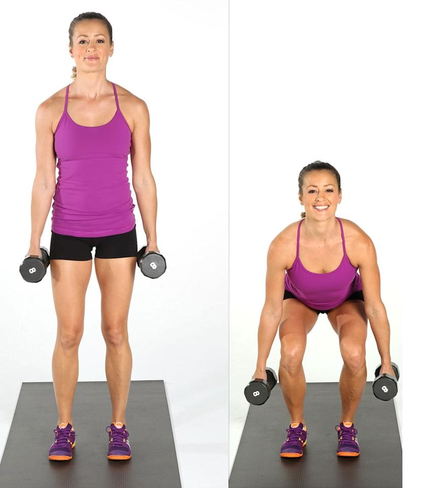 <ul> <li>Stand with your feet hip-distance apart.</li> <li>Hold a dumbbell in each hand by your sides with straight arms.</li> <li>Push your butt back as you bend your knees, squatting down just enough to tap the front end of the dumbbell to the floor. Keep your back straight, not curved or arched. Your chest should be parallel with the floor.</li> <li>Straighten your legs to stand up.</li> <li>This completes one rep.</li> <li>Complete as many reps as you can in 40 seconds, followed by a 20-second rest.</li> </ul>