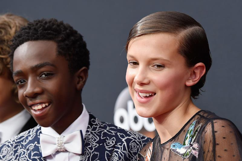 LOS ANGELES, CA - SEPTEMBER 18: (L-R) Actors Caleb McLaughlin and Millie Bobby Brown attend the 68th Annual Primetime Emmy Awards at Microsoft Theater on September 18, 2016 in Los Angeles, California. (Photo by Frazer Harrison/Getty Images)