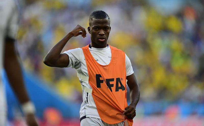 Ecuador's forward Enner Valencia is pictured during a warm-up before the start of a Group E football match between Ecuador and France at the Maracana Stadium in Rio de Janeiro during the 2014 FIFA World Cup on June 25, 2014